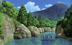 Picture trees, river, stones, mountain, Japan, dam, boulders, by Kusanagi
