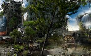 Picture the city, building, devastation, dinosaurs, postapokalipsis, Berlin, Alexander Koshelkov, Dual Monitor