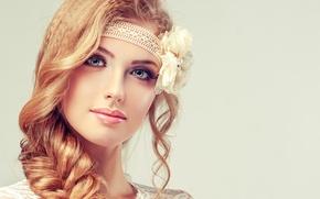 Wallpaper makeup, look, girl, smile, face, braid, flower