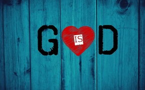 Picture red, love, heart, wood, God, Jesus, christianity, blue electric, God is love