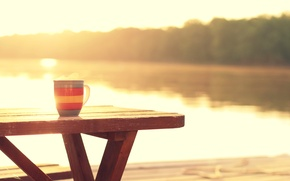 Picture river, coffee, hot, morning, good morning