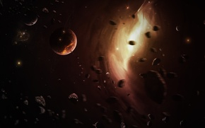 Picture space, stones, movement, planet, ring, asteroids, faults