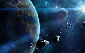 Picture space, star, planet
