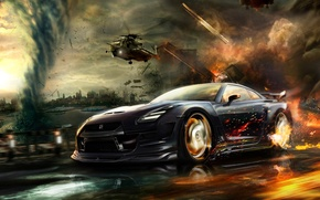 Wallpaper car, machine, the city, fire, speed, chase, helicopters, car, nissan, tornado, gt-r, the fire