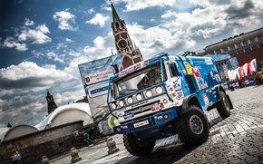 Picture machine, The sky, Clouds, Auto, Blue, The city, Sport, Truck, Pavers, Day, Moscow, Red Bull, …