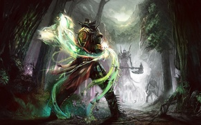 Wallpaper forest, night, stones, bee, earth, spirit, warrior, wolves, axe, the fight, call