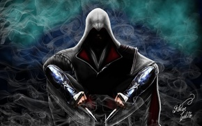 Picture smoke, knives, Assassin, killer, Assassin's Creed, Assassin's Creed Brotherhood, video game, Assassin