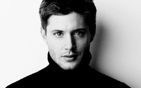 Wallpaper the series, supernatural, face, Jensen Ackles, actor, black-and-white background, dean winchester, Dean Winchester, supernatural, Jensen ...