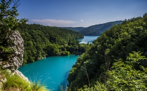 Picture greens, trees, landscape, nature, caves, Croatia, national Park, The Republic Of Croatia, Plitvice lakes, Plitvice …
