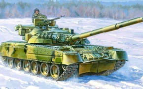 Picture winter, snow, figure, art, armor, main battle tank, Birch, T-80UD
