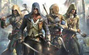 Wallpaper weapons, the building, axe, grin, Ubisoft, blade, killer, sword, pistol, crossbow, partners, Arno, Arno, Assassin's ...