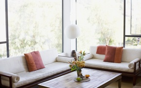 Wallpaper flowers, design, table, room, Windows, lamp, interior, pillow, beautiful, fresh, light, sofas, vase