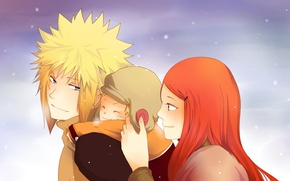 Wallpaper winter, the sky, eyes, look, snow, family, Anime, Naruto, Naruto, Anime, mom, son, dad, Kushina ...