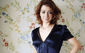 Picture flowers, Wallpaper, actress, Alison Hannigan, Alyson Hannigan, flowers, actress