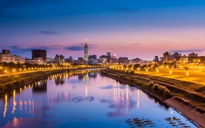 Picture reflection, river, China, Taipei, blue, city, the city, pink, lights, lights, reflection, the evening, Taiwan, ...