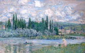 Picture trees, landscape, river, picture, Claude Monet, View Of Vétheuil