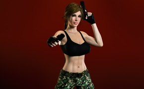 Picture chest, look, girl, guns, lara croft, tomb raider