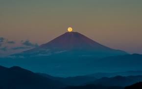 Picture autumn, the sky, night, the moon, mountain, Japan, Fuji, September, stratovolcano, Mount Fuji, the island …