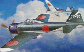 Picture aircraft, airplane, painting, aviation, Mitsubishi A6M5c zero fighter type 52 Hei