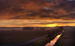 Wallpaper the sun, morning, channel, field, fog, dawn