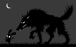 Picture grass, night, danger, the moon, wolf, hare, a month, silhouette, art, black and white, carelessness, …