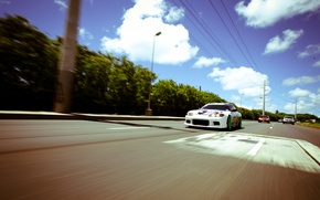 Picture road, tuning, speed, white, S15, Silvia, Nissan, white, Nissan, tuning, Sylvia