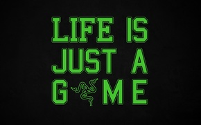 Picture Minimalism, The inscription, Razer, Wallpaper, Hi-Tech, Minimalism, Razer, The Wallpapers, Life Is Just A Game