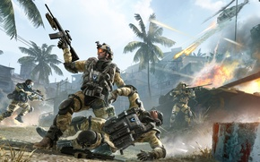 Picture palm trees, weapons, war, battle, soldiers, tank, helicopter, sniper, attack, shootout, medic, Crytek, engineer, Warface