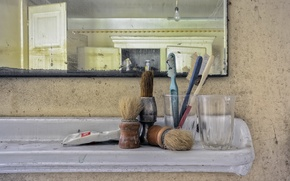 Wallpaper mirror, brush, background