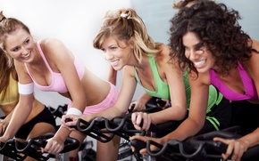 Wallpaper sport, training, girls, orbitrek
