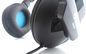 Picture black, Macro, Headphones, white background, microphone, headset