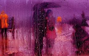 Picture glass, drops, rain, street, umbrella, the plot, pair