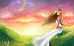 Picture the sky, look, nature, hair, dress, art, elf, fantasy, sitting