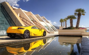 Picture yellow, background, supercar, rear view, yellow, GTA, GTA, Spano, Spano