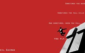 Picture Minimalism, People, Jump, Skyscraper, Neil Gaiman, Free Flight