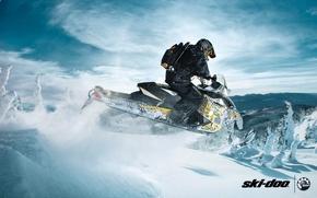 Picture snow, jump, sport, sport, snow, snowmobile, 600, backcountry, snowmobile, ski-doo, brp, skidoo, renegade