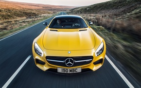 Wallpaper yellow, Mercedes, Mercedes, AMG, AMG, UK-spec, 2015, GT S, C190