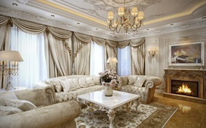 Picture design, sofa, interior, picture, chandelier, fireplace, living room