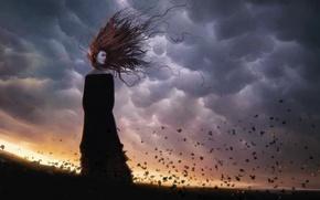 Wallpaper the wind, girl, Leaves, hair