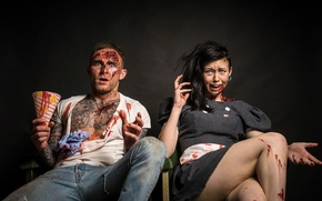 Picture girl, fright, horror, guy, makeup, Scared