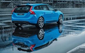 Picture asphalt, reflection, mesh, markup, blue, puddle, the fence, volvo, Volvo, universal, v60, B60