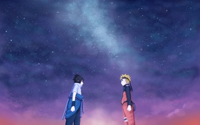 Picture friends, naruto, art, sasuke, starry sky, juneau