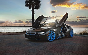 Picture car, sunset, rechange, BMW i8