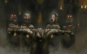 Picture fear, wolf, skull, Werewolf, rite, sacrifice, werevolf