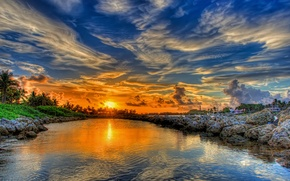 Picture the sky, water, clouds, landscape, sunset, nature, river