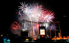 Picture baseball, salute, USA, game, States, night, stadium, stadium, fireworks, baseball, Kansas City, Missouri, Royals, night …