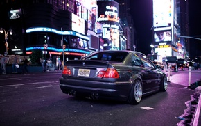 Picture night, the city, lights, BMW, BMW, tuning, E46