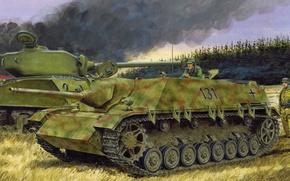Picture war, art, painting, tank, ww2, Jagdpanzer IV L/48