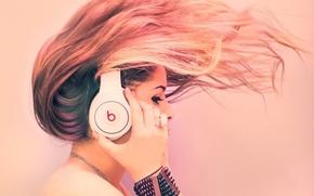 Wallpaper girl, music, hair, headphones