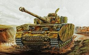 Picture war, art, painting, tank, ww2, tank, Panzer Iv Ausf H